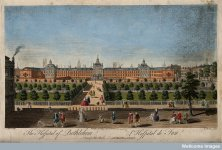 The Hospital of Bethlem [Bedlam] at Moorfields, London- seen from the north, with lunatics cap...jpg
