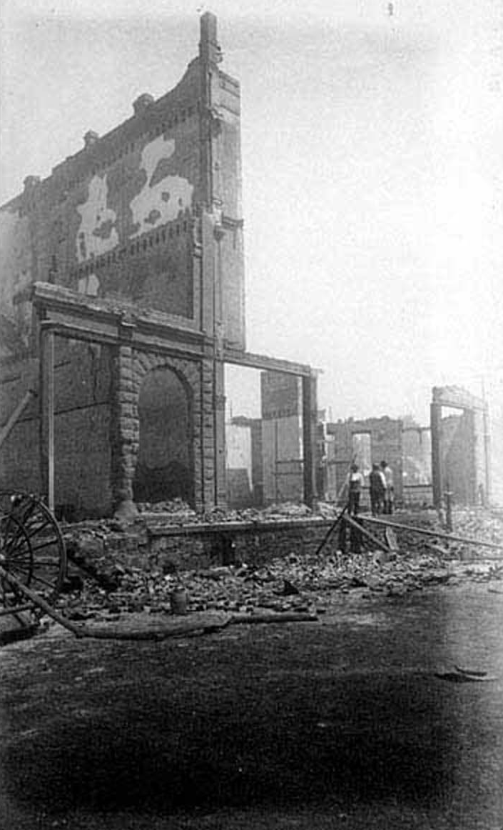 Ruins of Yesler-Leary Building, aftermath of the Seattle Fire of June 6, 1889.png