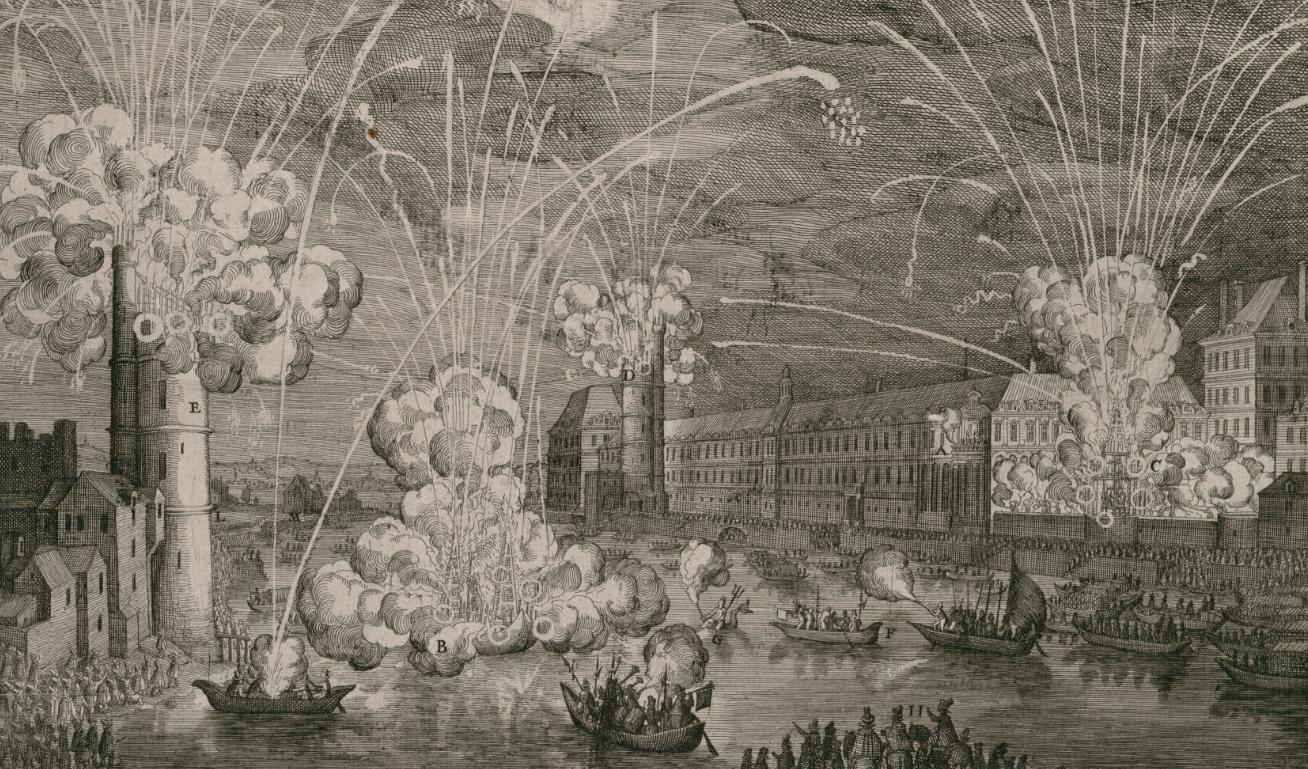 Représentation de deux artifices de feu et triomphes faits à Paris sur la rivière devant le...png